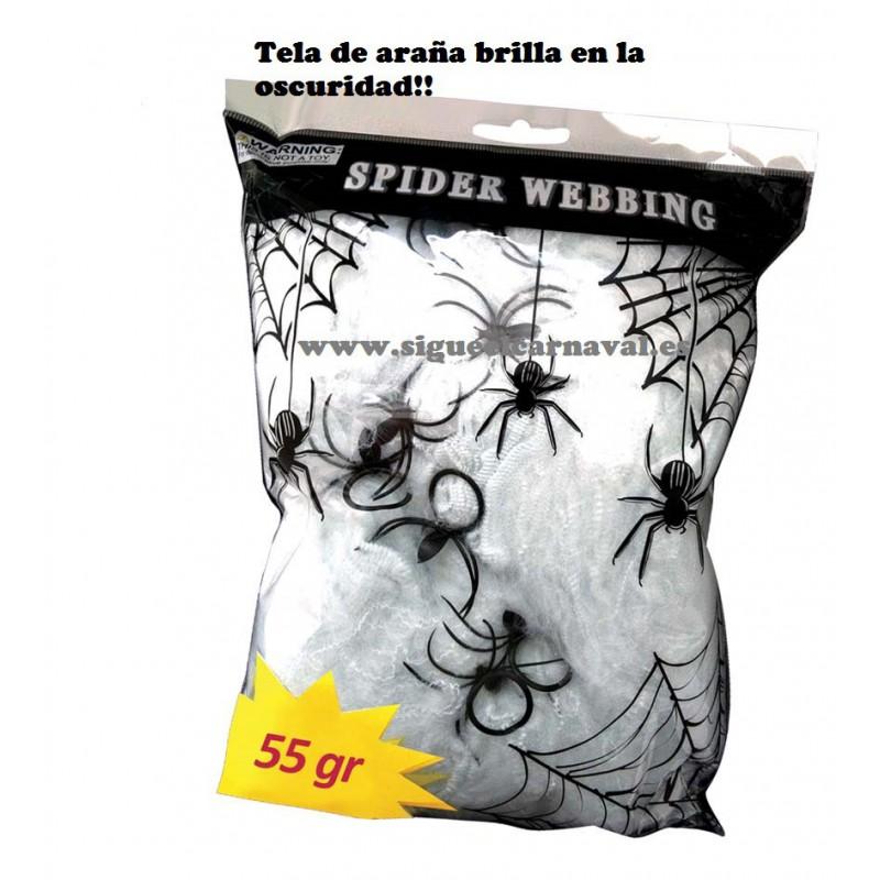 Tela de araña brilla en la oscuridad fluorescente