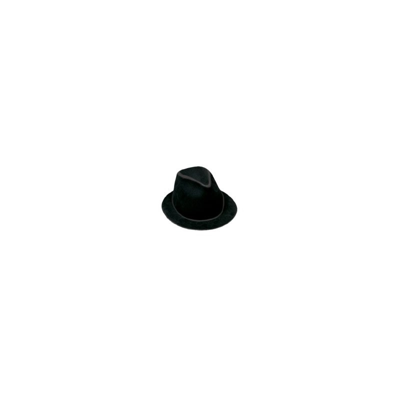 Gorro ganster plástico flocado negro.