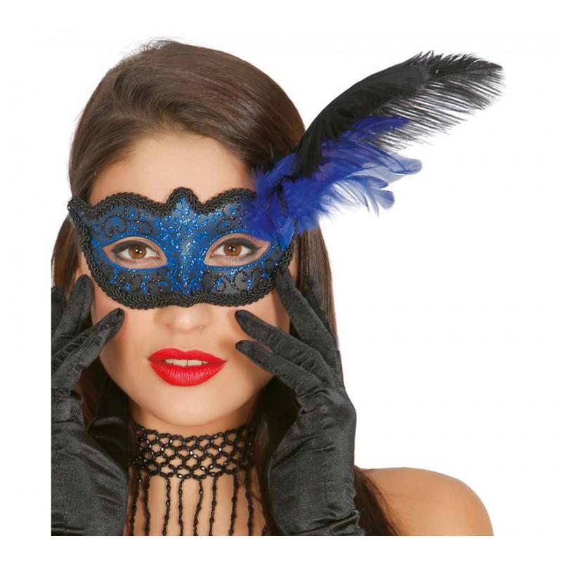 Antifaz Azul pluma