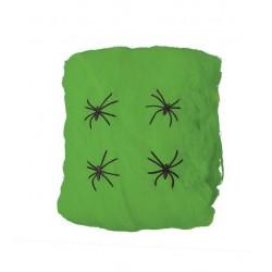 Tela de Araña 57 gr con 2 arañitas VERDE