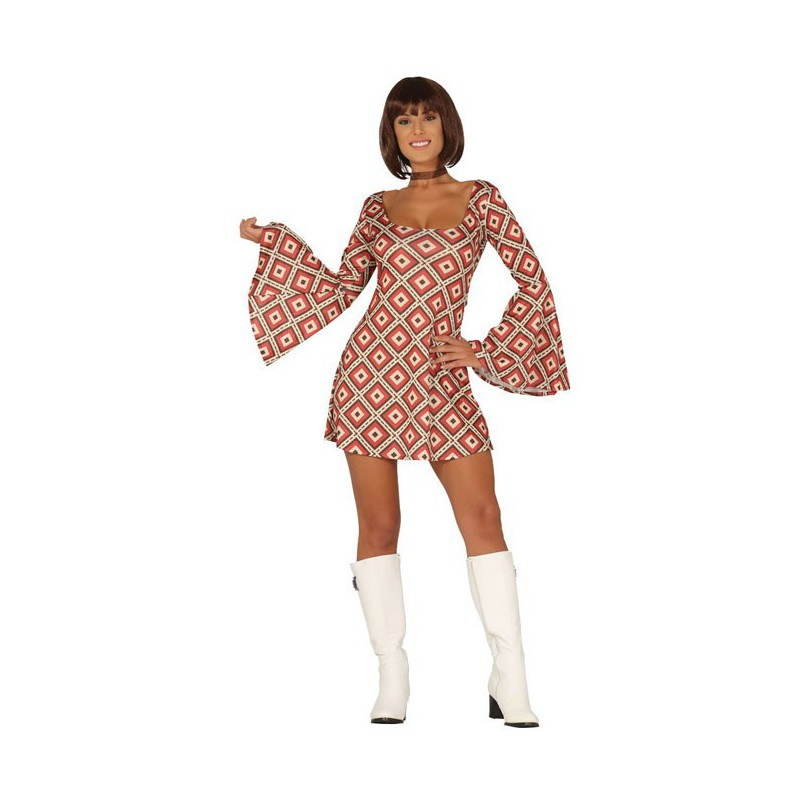 Disfraz Años 70 Rombos Vestido Mujer T.M