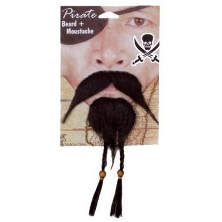 Barba y bigote pirata trenzas.