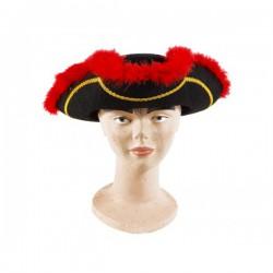 Sombrero pirata marabú rojo